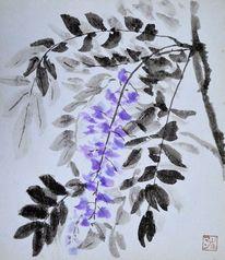Blumen, Zeichnung, Pflanzen, Japantusche