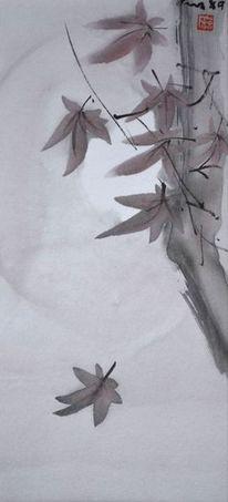 Zeichnung, Sumi, Herbstahorn, Malerei