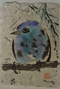 Zeichnung, Japantusche, Vogel, Selbstgeschöpftes papier