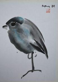 Grün, Zeichnung, Vogel, Tuschmalerei