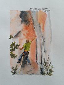 Menschen, Aquarellmalerei, Klettern, Aquarell