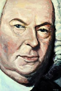 Mozart, Portrait, Johann sebastian bach, Acrylmalerei