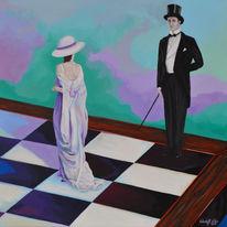 Zeitgenössische kunst, Weiß, König, Schach