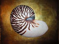 Nautilus, Acrylmalerei, Gold, Malerei
