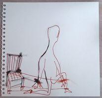 Ausbruch, Freiheit, Stuhl, Malerei