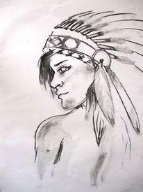 Frau, Mann, Gesicht, Indianer