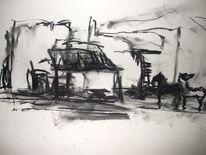 Landschaft, Kohlezeichnung, Malerei, Skizze