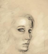 Frau, Rötel, Augen, Kohlezeichnung