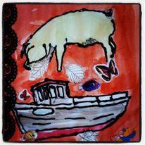 Schwein, Boot, Collage, Mischtechnik