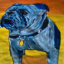 Pop art, Aquarellmalerei, Bulldogge, Englische bulldogge