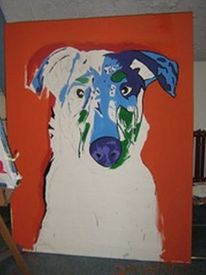 Popart, Zoe, Collie, Acrylmalerei