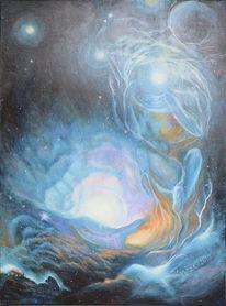 Fantasie, Planet, Ölmalerei, Geburt