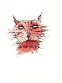 Katze, Illustrationen, Fratze