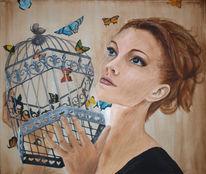 Schmetterling, Befreiend, Frau, Portrait