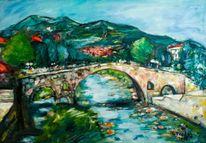Brücke, Gegenständlich, Bunt, Gazmend freitag paintings