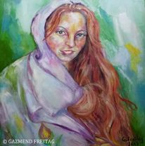 Figurativer impressionismus, Ölmalerei, Gazmend freitag, Portrait