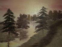 Waldweg, Baum, Landschaft, Sonnenuntergang