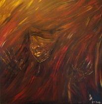 Acrylmalerei, Ausbruch, Frau, Abstrakt