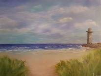 Acrylmalerei, Meer, Horizont, Strand