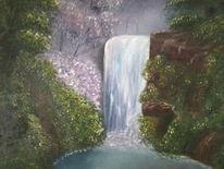 Landschaft, Ölmalerei, Wasserfall, Malerei