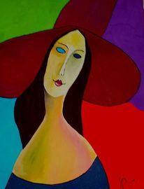 Portrait, Abstrakt, Acrylmalerei, Hut