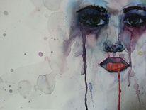 Portrait, Traurig, Aquarellmalerei, Aquarell