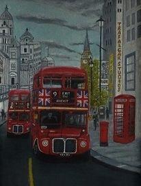 Stadt, London, Bus, Malerei
