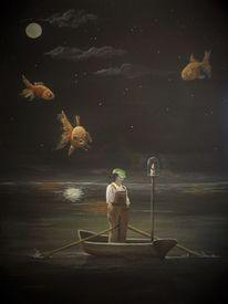 Fisch, Boot, Wasser, Goldfisch