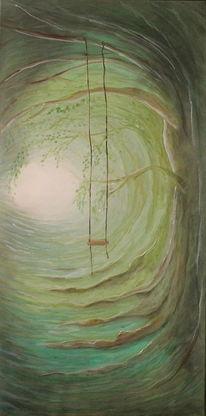 Wald, Licht, Schaukel, Malerei
