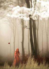 Frau, Licht, Fantasie, Wolken