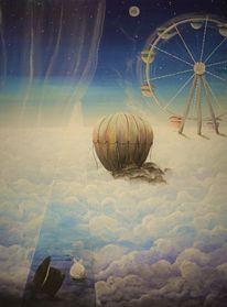 Himmel, Wolken, Karussell, Mond