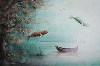 Wasser, Ruderboot, Himmel, Teich