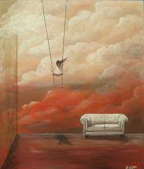 Raum, Sofa, Wolken, Weiß