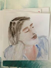 Frau, Brünett, Aufgestützt, Aquarellmalerei