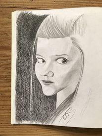 Frau, Mädchen, Portrait, Bleistiftzeichnung