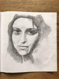Zeichenpapier, Frau, Menschen, Bleistiftzeichnung