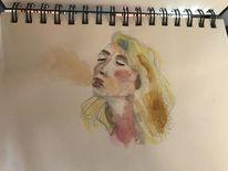 Bleistiftzeichnung, Gesicht, Zeichnung, Junge frau