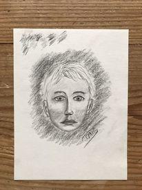 Kohlezeichnung, Kopf, Portrait, Zeichenpapier