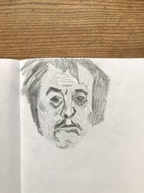 Mann, Portrait, Kopf, Holzschnitt