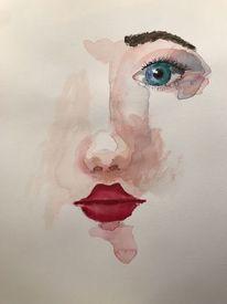Gesicht, Aquarellmalerei, Frau, Rot