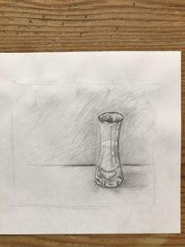 Wasser, Vase, Bleistiftzeichnung, Glas