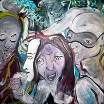 Politik, Acrylmalerei, Verfolgen, Malerei