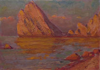 Russisch, Meerblick, Impressionismus, Malerei