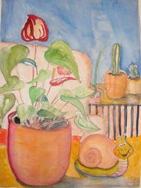 Andorie, Schnecke, Kaktus, Malerei