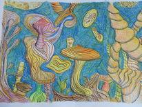 Mikrobe, Mikrokosmos, Tusche, Pilze