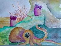 Tintenfisch, Unterwasserwelt, Aquarell,