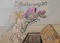 Offenbarung 20, Aquarellmalerei, Bindung satans, Tuschmalerei