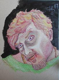 Selbstportrait, Frisch gewaschenes haar, Merkwürdige kopfhaltung, Zeichnungen