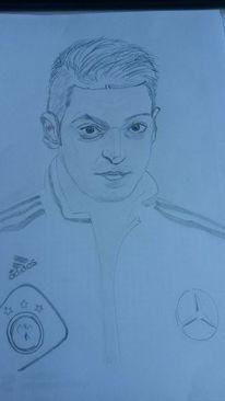 Zeichnung, Özil, Bleistiftzeichnung, Fußball