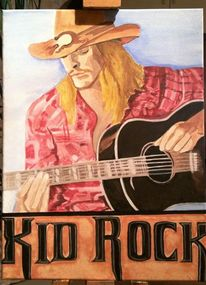 Portrait, Gitarre, Mann, Bunt